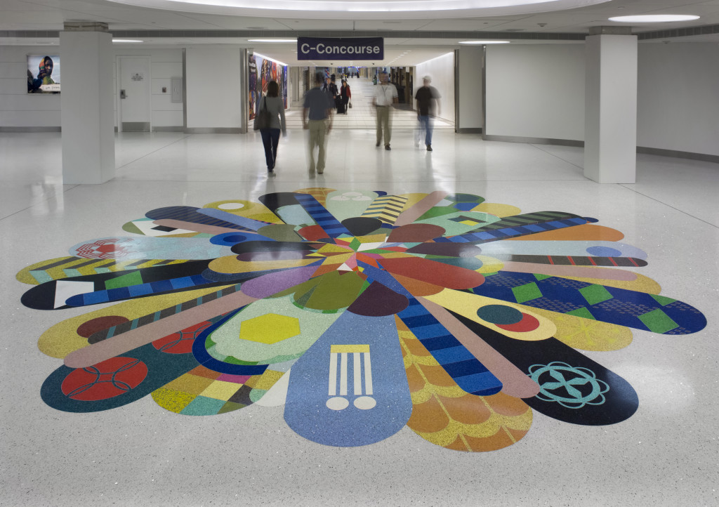 Terrazzo flooring at Lambert International airport missouri