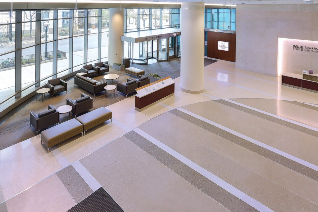 terrazzo flooring design northwestern memorial hospital chicago