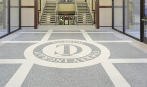 terrazzo flooring design currey ingram academy school corridor