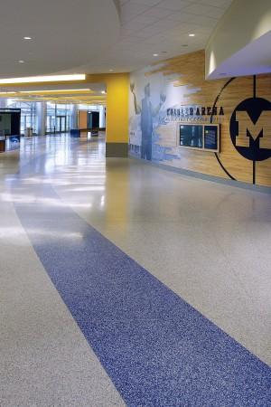terrazzo flooring design university of michigan crisler center